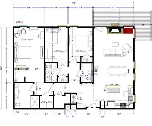 Linesync architecture for 3 bedroom unit designs